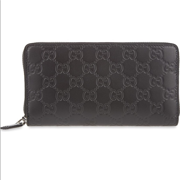 19065270d39057 Gucci Handbags - Women's Gucci Black Leather Gg Long Wallet